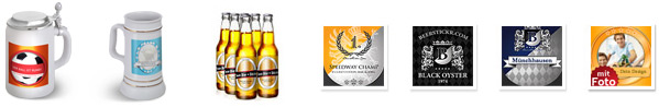 Bierkrüge mit eigenem Etikett