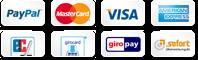Bequeme Zahlung über Paypal, EC und Kreditkarte